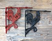 Cast Iron Rooster Shelf Bracket, Farmhouse Decor
