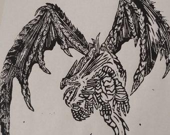 Linolium Block Print - Dragon in Flight