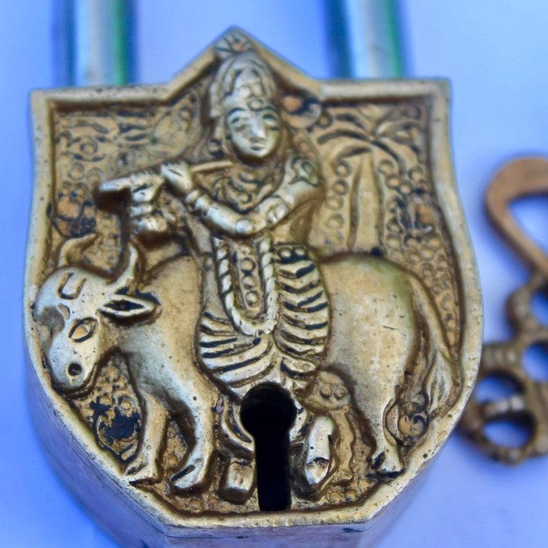 Antique working lock Ancient VTG vintage Temple lock shabby chic gift security lock Old Padlock Lord Krishna Rare Lock