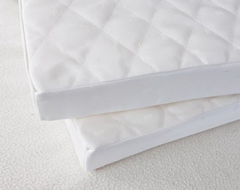 "Luxurious Linen Mattress for Ikea Doll Bed, 18"" Doll Bed Mattress, Linen Covered Mattress, Foam Mattress, White 12""x19""Mattress, Quilted Top"