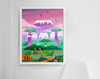 18x24 Mount Kilimanjaro - Africa Jungle Print - Miyazaki Design - Wildlife Safari Art - Nature Animal Poster - Studio Ghibli - Nursery Decor