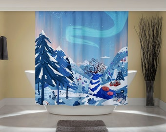 Aurora Stars Curtain - Fun Shower Curtain - Northern Lights Art - Whimsical Animal Art - Outdoor Nature Art - Studio Ghibli Art - Home Decor
