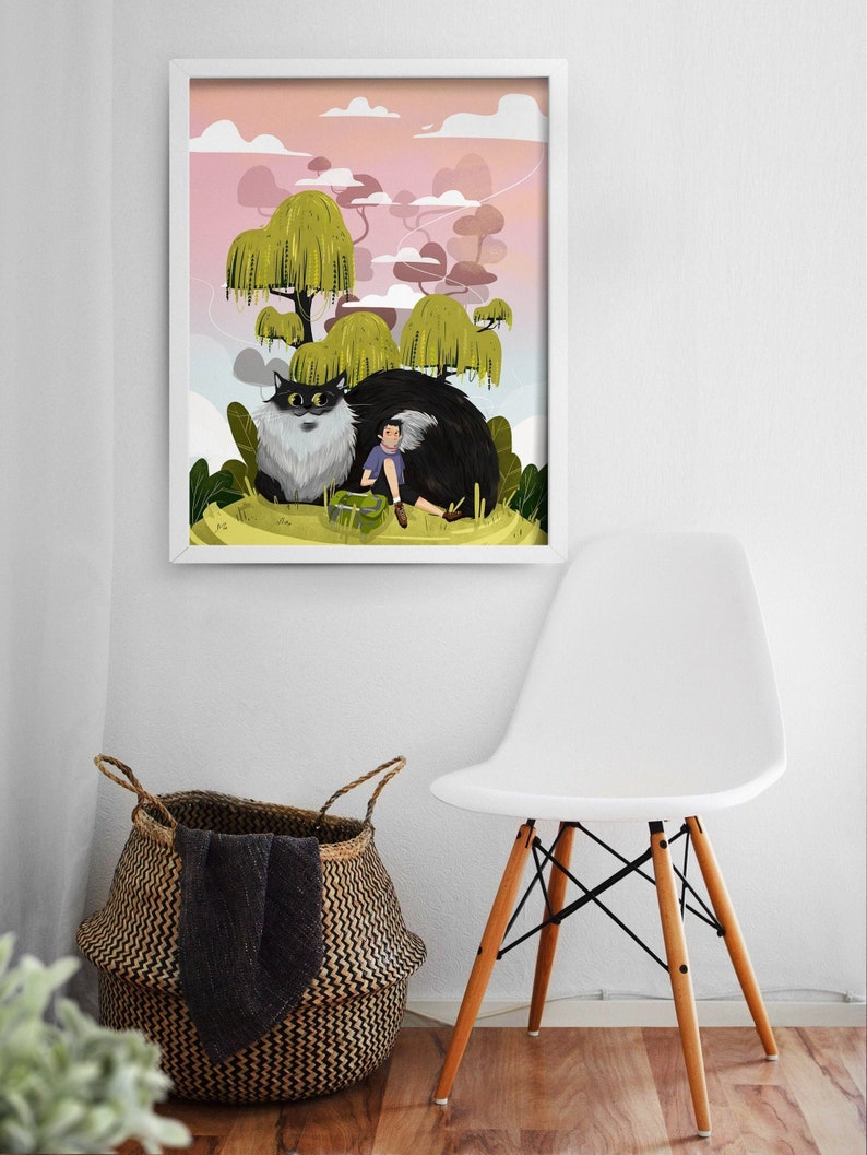 Fantasy Animal Print  Nursery Room Decor  Landscape Art  image 0