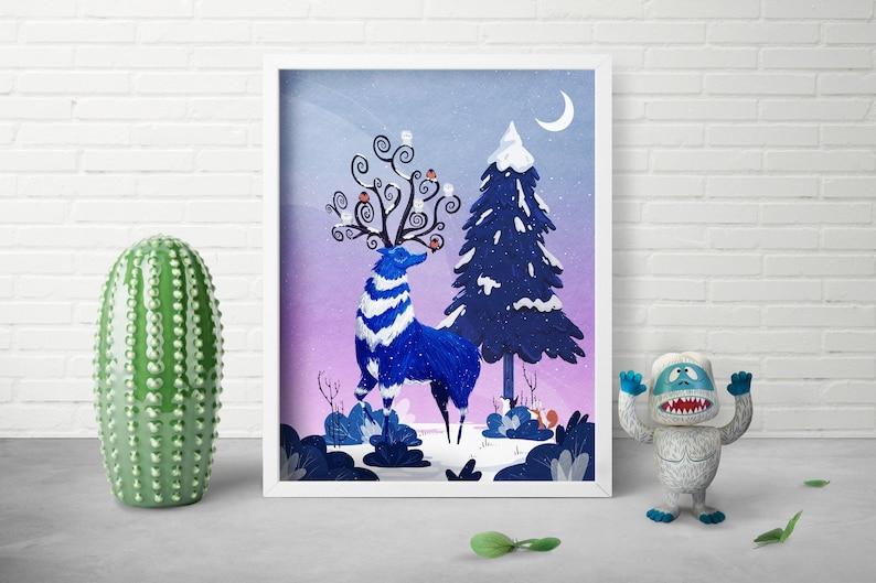 Woodland Animal Art  Whimsical Winter Art  Woodland Print  image 0
