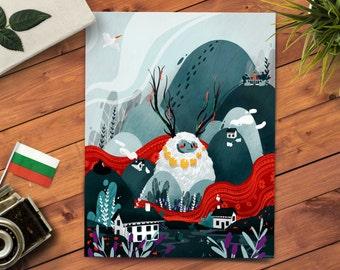 11x14 Nordic Art Print - Scandinavian Decor - Mountain Design - Whimsical Art - Cute Animal Print - Studio Ghibli Print - Kids Bedroom Decor