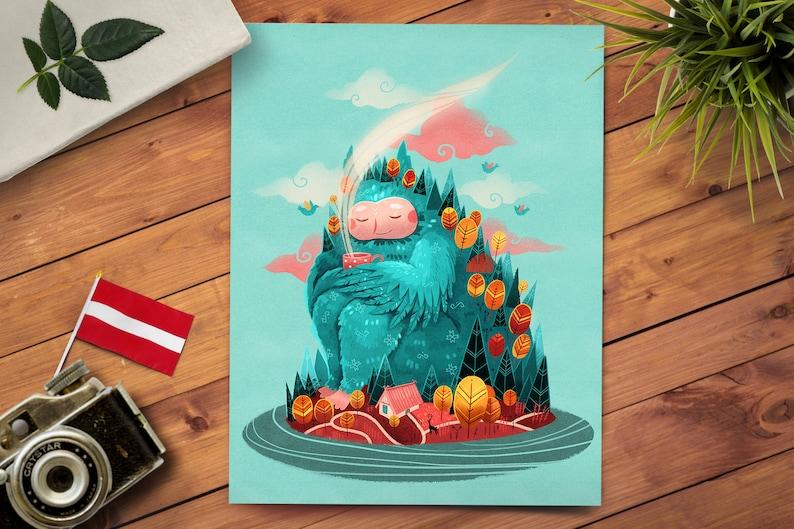 Fairytale Art  Nursery Room Decor  Whimsical Beast Art  image 0