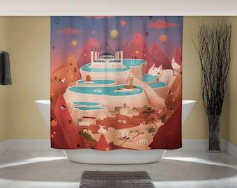 Cappadocia Curtain - Fantasy Landscape - Fun Shower Curtain - Whimsical Animal Art - Outdoor Nature Art - Studio Ghibli Art - Home Decor