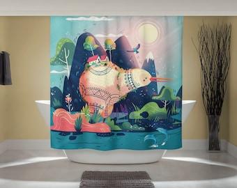 Kiwi Bird Curtain - Fun Shower Curtain - Whimsical Animal Art - New Zealand Print - Outdoor Nature Art - Studio Ghibli Art - Home Decor