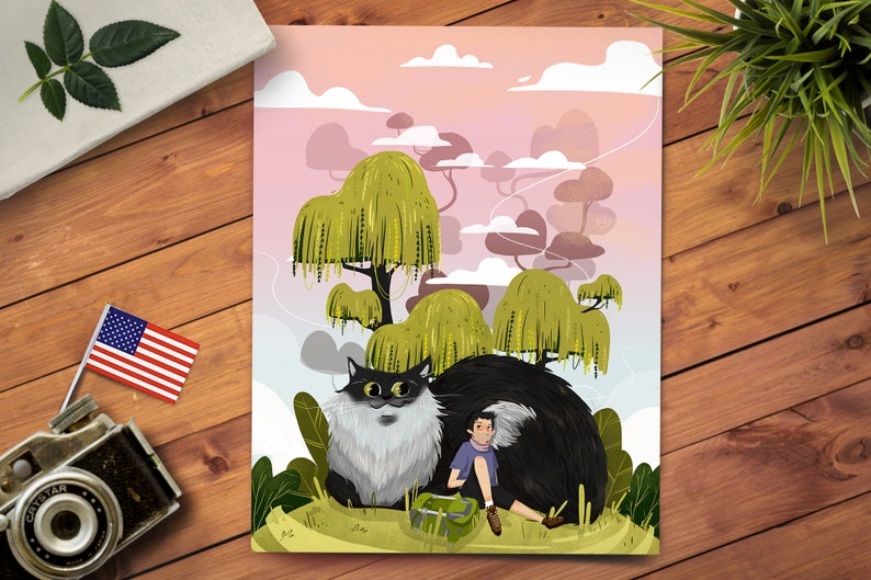 Fantasy Cat Animal Print  Nursery Room Decor  Landscape Art image 0