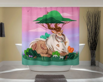 Wildlife Curtain - African Travel Art - Fun Shower Curtain - Tanzania Art Print - Outdoor Nature Art - Studio Ghibli Art - Home Decor Print