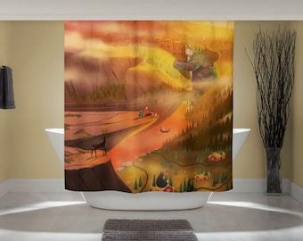 Nordic Hike Curtain - Fun Shower Curtain - Mountain Fjord Art - Scandinavian Decor - Outdoor Nature Art - Studio Ghibli Art - Home Decor