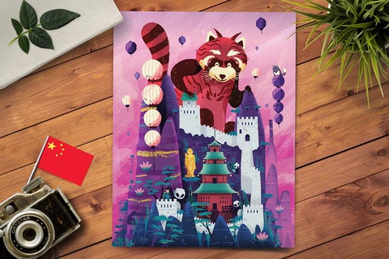 Red Panda Art Print  Red Panda Decor  Panda Gift  Nursery image 0