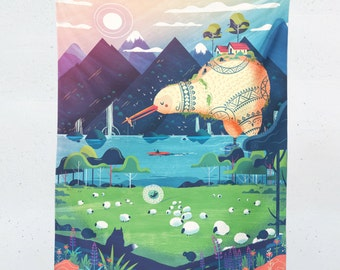 Mountain Landscape Tapestry - Giant Kiwi Wall Hanging - Outdoor Wall Art - Whimsical Animal Design - Nursery Decor - Miyazaki Art Decor
