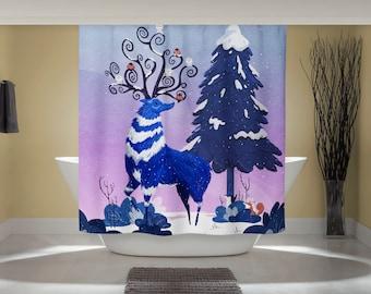 Woodland Curtain - Fun Shower Curtain - Winter Reindeer - Nordic Art Print - Outdoor Nature Art - Studio Ghibli Art - Home Decor Print