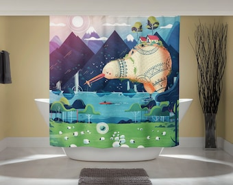 Whimsical Animal Art - New Zealand Print - Fun Shower Curtain - Kiwi Bird Curtain - Outdoor Nature Art - Studio Ghibli Art - Home Decor
