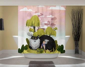 Fantasy Cat Curtain - Fun Shower Curtain - Cute Cat Art - Bathroom Cat Print - Whimsical Animal Art - Studio Ghibli Art - Home Decor - Trees