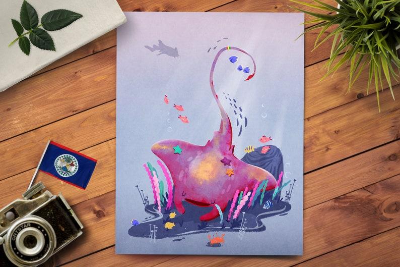 Manta Ray Art Print  Christmas Gift  Sea Life Art Print  image 0