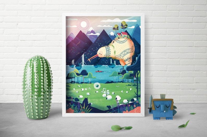 Landscape Art Print  Whimsical Animal Print  Nursery Room image 0