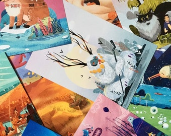 5x7 (5) Postcard Set - Cute Animal Card - Nature Print - Illustrated Print - Nursery Decor - Cool Stationary - Gift for Friend - Bedroom Art