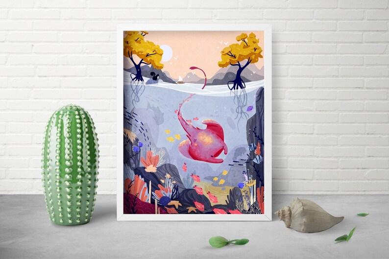 Sea Life Art Print  Whimsical Art  Baby Ocean Theme  image 0