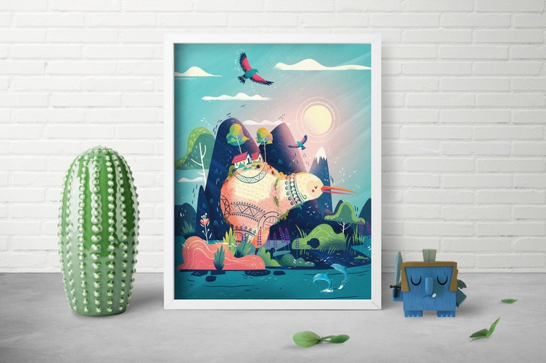 Whimsical Animal Print  Landscape Art Print  Nursery Room image 0
