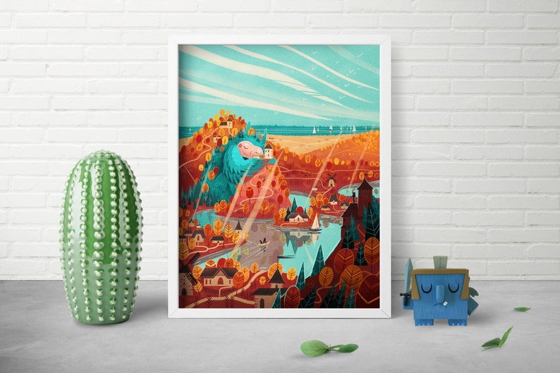 Whimsical Beast Art  Fairytale Art  Nursery Room Decor  Owl image 0