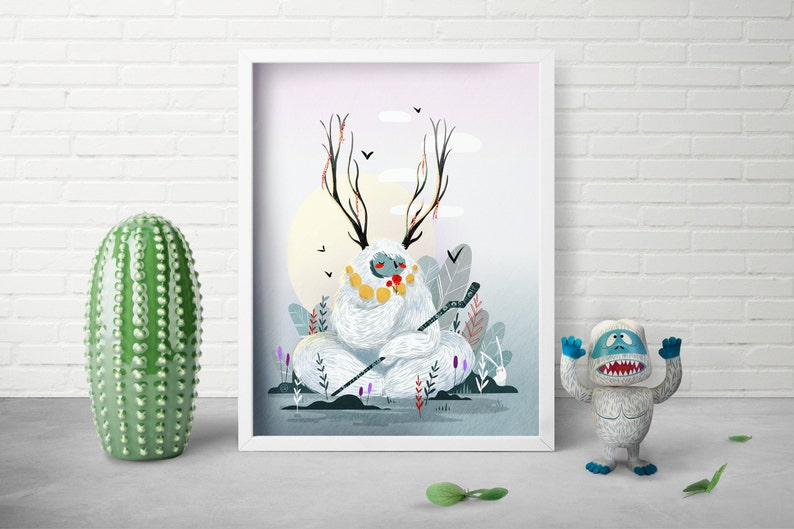 Fantasy Illustration Print  Christmas Gift  Scandinavian image 0