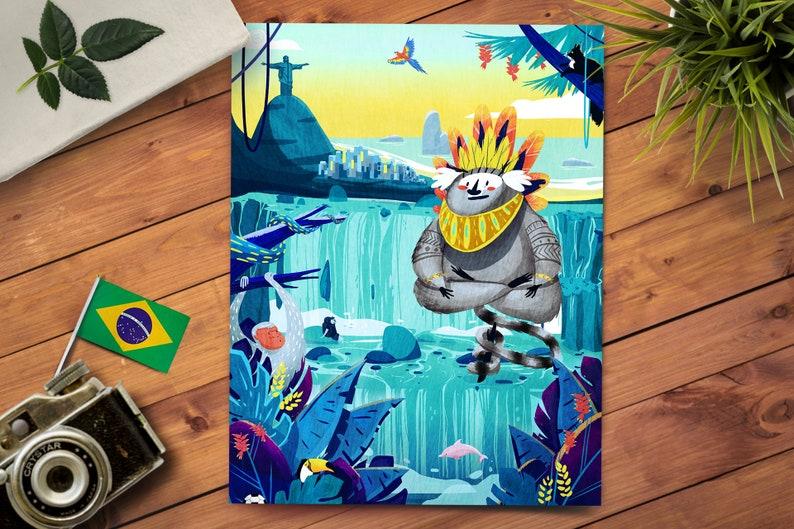 Whimsical Art Print  Nursery Room Decor  Tropical Painting  image 0