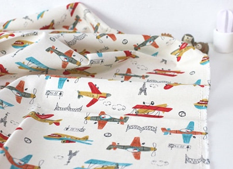 by Yard Oxford Cotton 100/% Fabric Vintage Airplane drawing