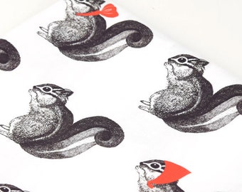 Squirrel drawing, Cotton 100% fabric, by Yard