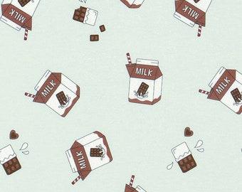 COTTON KNIT, JERSEY Stretchy fabric, by Yard, Chocolate Milk pattern, Mint + Brwon Colour