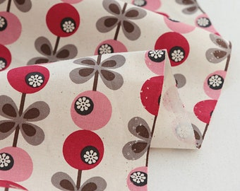 Pink Flower Pattern, Cotton Fabric, by Yard