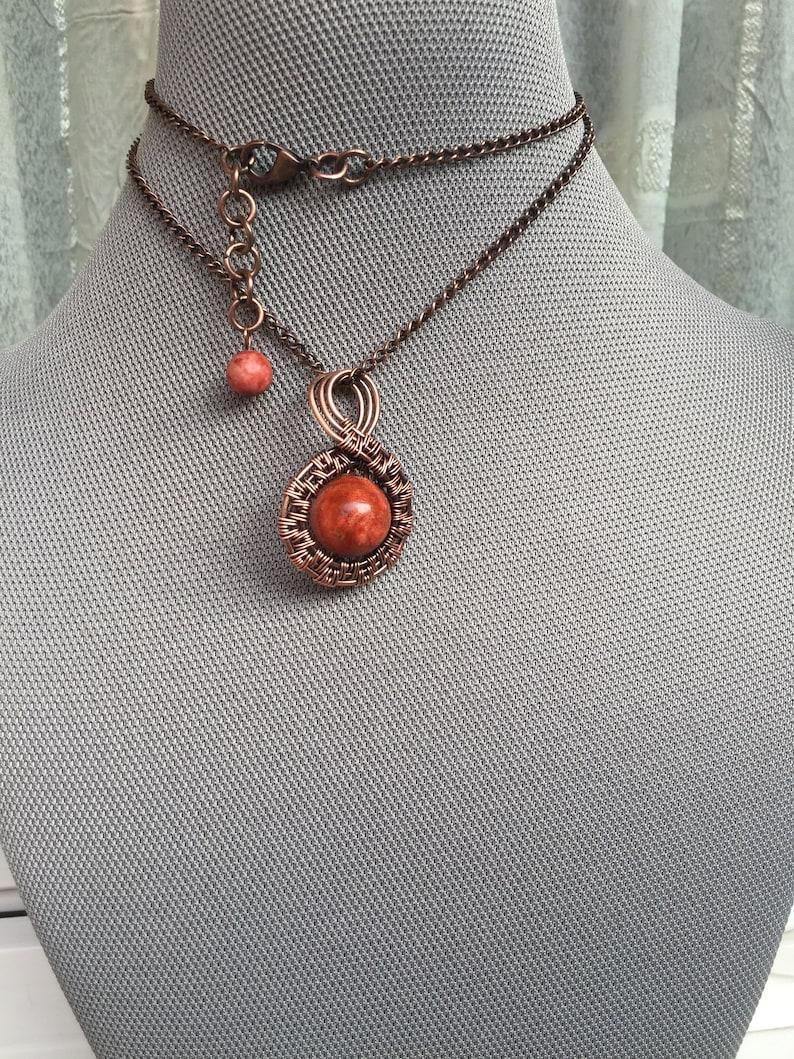 Jasper Stone of Tenderness Unique Pendant Jasper Raw Gemstone Handmade Jewelry Elegant. Copper Necklace Wire Wrapped Necklace Orange
