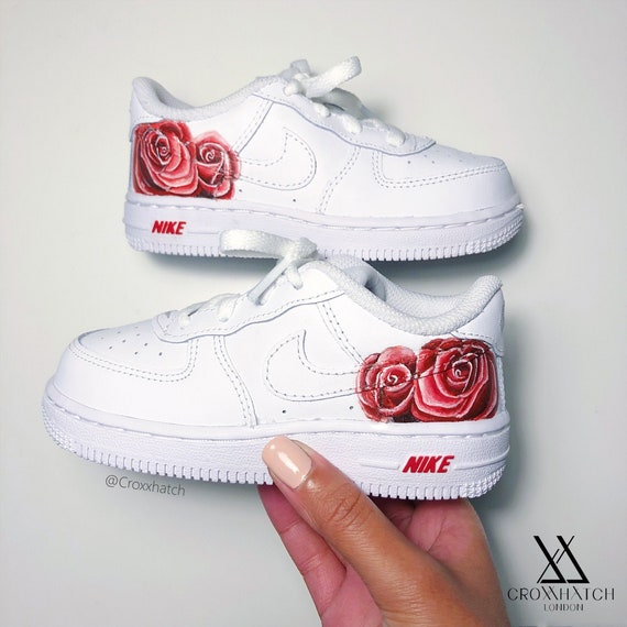 Red Rose Custom Air Force 1 Nike Sneakers Infant & Adult | Etsy