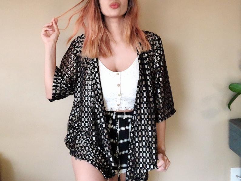 SALE\u20221980s Cardigan vintage black and white shawl cyber monday Black Friday