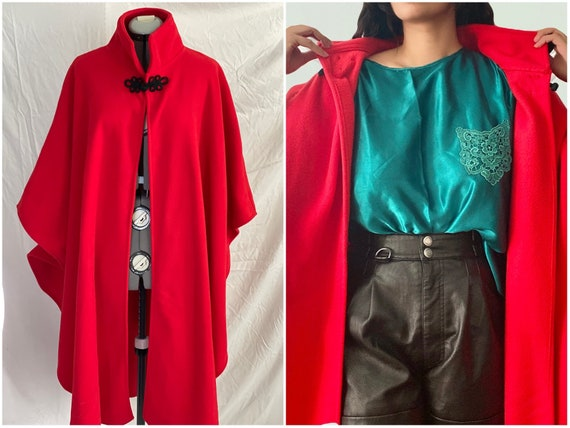 1980s red fleece cape coat   overcoat red jacket