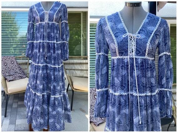 1969 label Gunne Sax Ren Ocean Leaves Dress