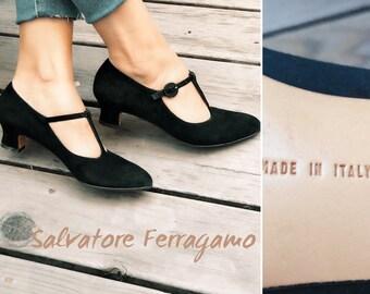 Salvatore Ferragamo oxford heels suede vintage