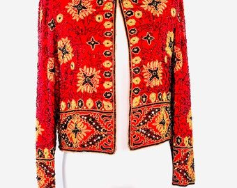 aeaaf2db61c31e Adrianna Papell Evening 1994 Vintage 100% Silk Blazer Top Beaded Sequined  Red Black Gold Petite Small