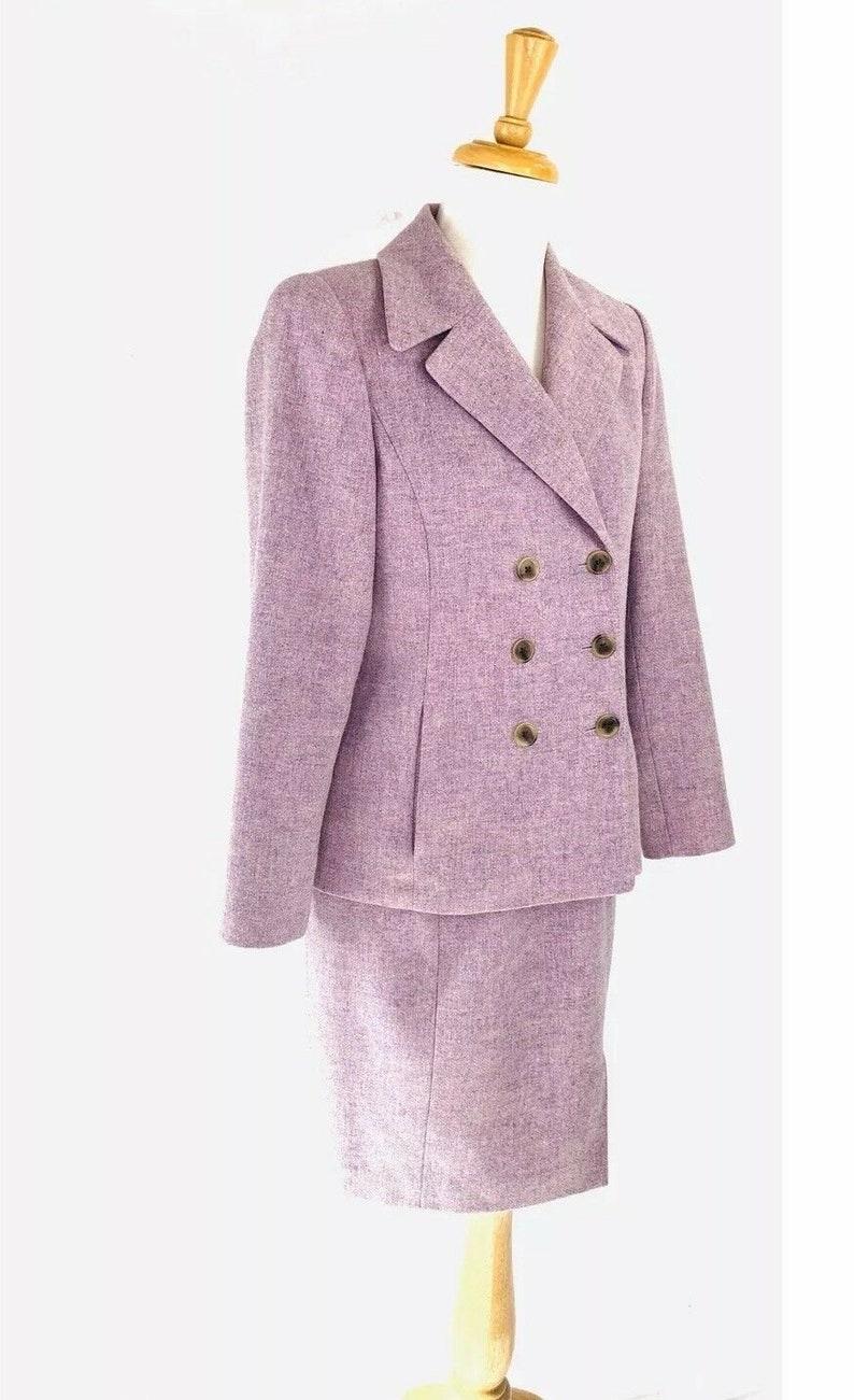 Linda Allard Ellen Tracy 100/% Lambswool 2 Piece Skirt Suit Size 6P /& 4P Ret 498