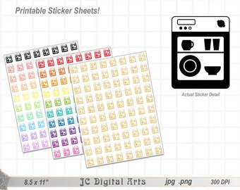 Printable Planner Stickers - Dishwasher - 23 colors