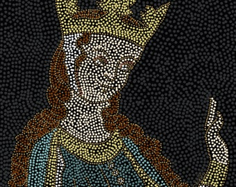 Art print of digital painting - Mosaic style portrait of Eleanor of Aquitaine, Eleanor of Aquitaine painting, historical icon mosaic