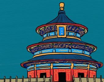 Art print of digital painting - Temple of Heaven painting, round pagoda illustration, illustration of China