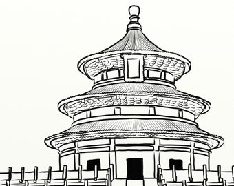 Art print of digital painting - Black and white Temple of Heaven line art, round pagoda illustration, illustration of China