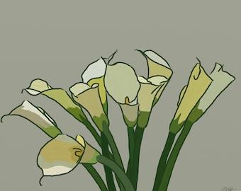 Art print of digital painting - Bouquet calla lilies, calla lily bouquet, calla lily painting, callas, calla lilies print, painting of calla