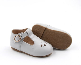 CLEARANCE Hard sole Girl's Shoes Leather T-bars - Pearl Grey
