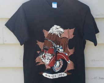 c06f3805 Bald Eagle Biker 1996 Sturgis T-Shirt Size Medium - Vintage Sturgis  Motorcycle Rally South Dakota - American Biker T-Shirt Black 90s T-Shirt