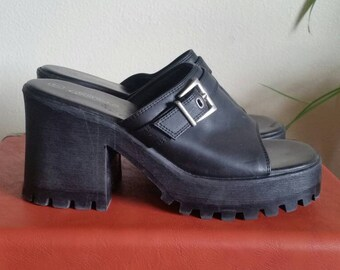 Black Chunky Platform Clogs - Size 7 - Lower East Side Sandals - Chunky Clogs w Silver Buckle - Peep Toe Platform Shoes - Vegan Leather