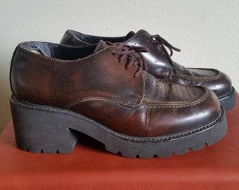 90s Steve Madden Platform Shoes - Size 7.5 - Chunky Platform Shoes - Vintage Oxford Platforms - Brown Leather Platforms - 90s Chunky Clogs