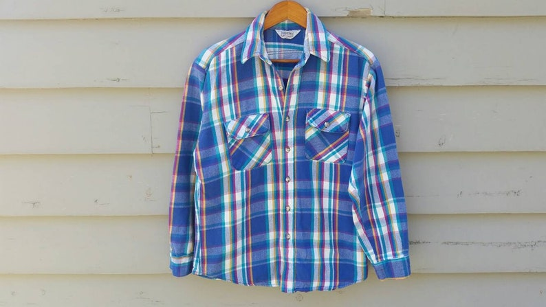 Amazing 80s Flannel Shirt Mens Size Large Blue Yellow Etsy